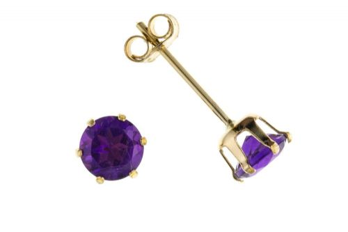 9 Carat Yellow Gold Amethyst Round Stud Earrings